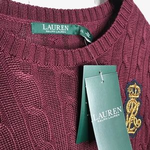 Ralph Lauren Sweaters - NWT Ralph Lauren Crest Cable Knit Maroon Sweater